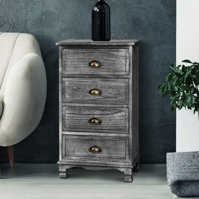 Vintage Washed Bedside Table - Grey - The Home Accessories Company 1