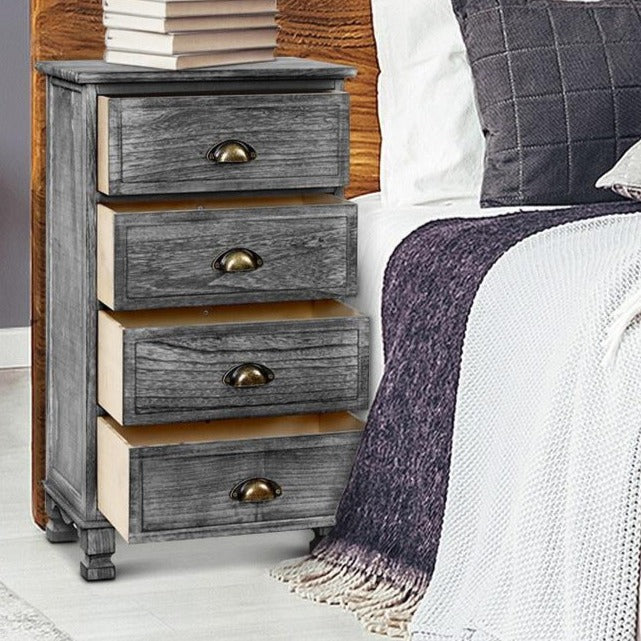 Vintage Washed Bedside Table - Grey - The Home Accessories Company 2