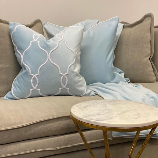 Laguna Beach Cushion Cover - Available in Silver, Soft Blue & Black- The Home Accessories Company