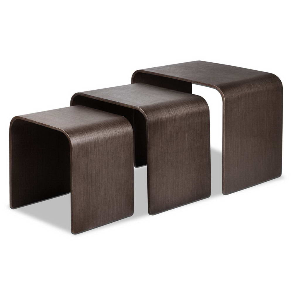 Set of 3 Wooden Side Tables - Walnut - The Home Accessories Company