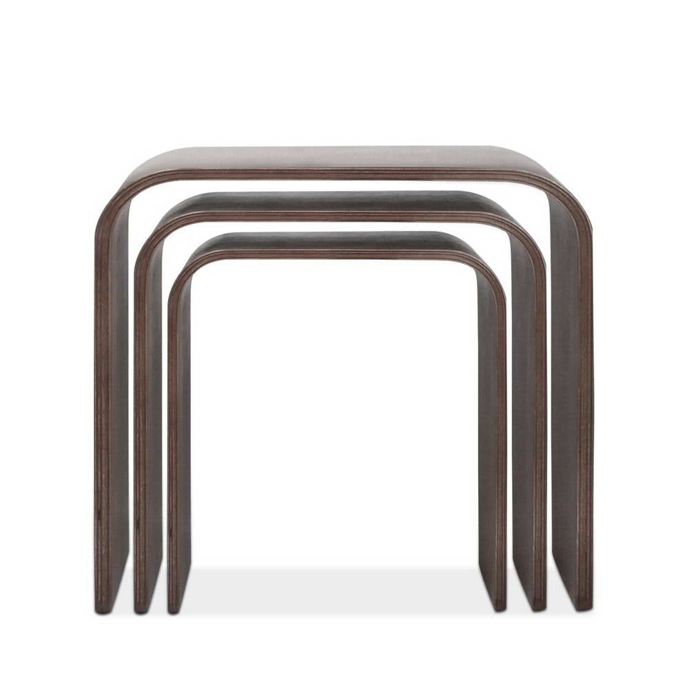 Set of 3 Wooden Side Tables - Walnut - The Home Accessories Company 3