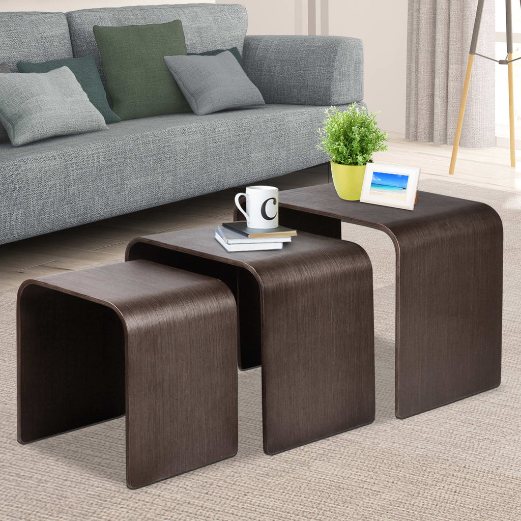 Set of 3 Wooden Side Tables - Walnut - The Home Accessories Company 4