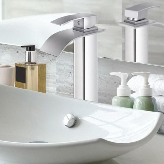 Waterfall Basin Mixer Tap - Silver - The Home Accessories Company 2