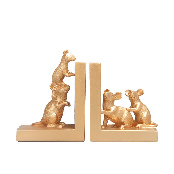 The Home Accessories Company - Mouse Bookend - Gold 1