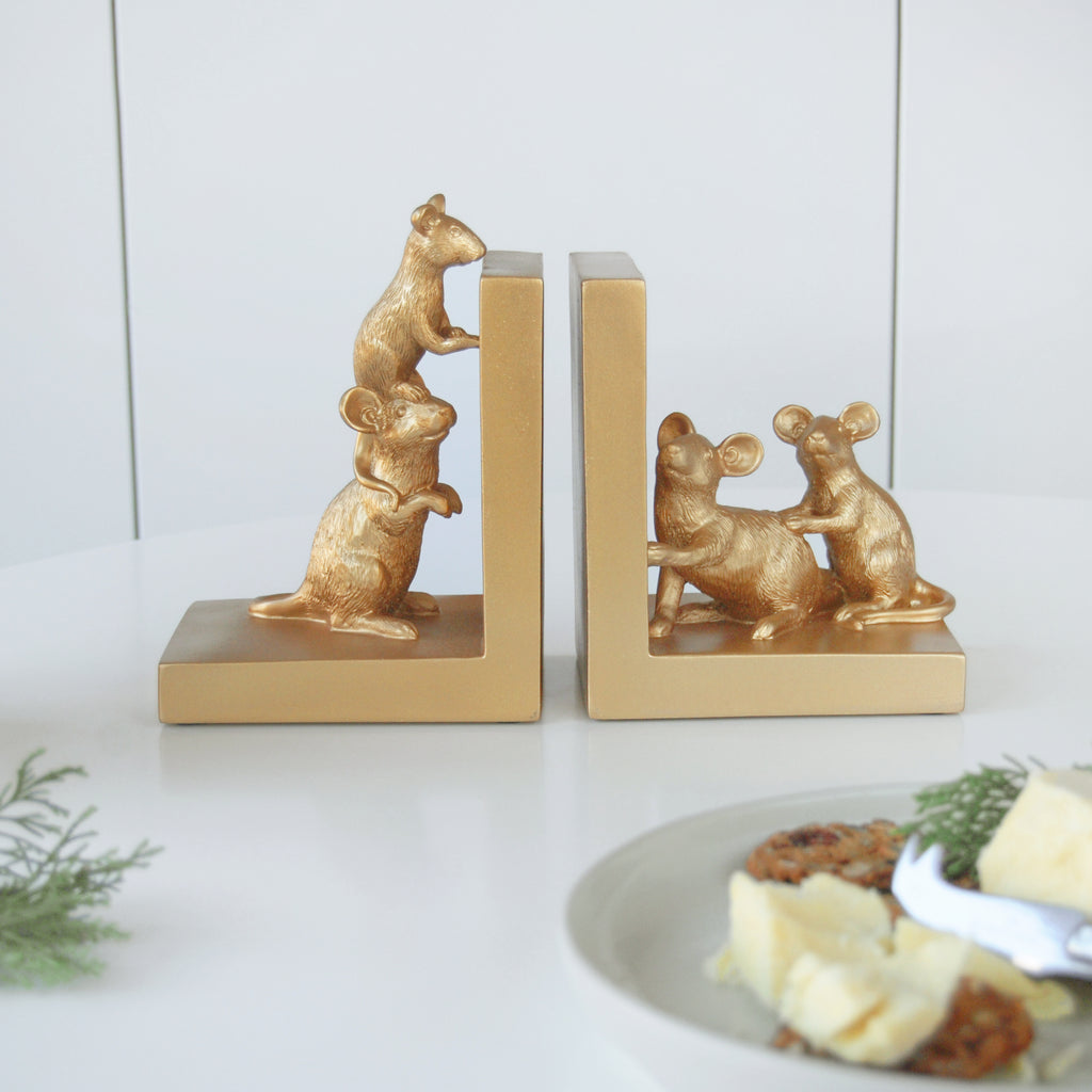 The Home Accessories Company - Mouse Bookend - Gold