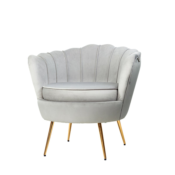 Shell Velvet Lounge Chair - Grey - The Home Accessories Company