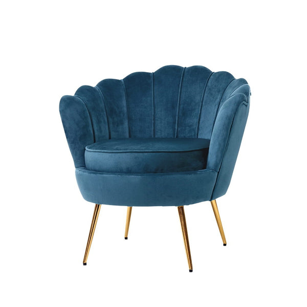 Shell Velvet Lounge Chair - Navy - The Home Accessories Company