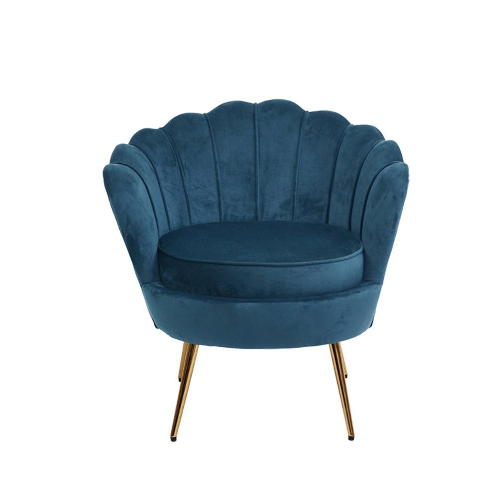 Shell Velvet Lounge Chair - Navy - The Home Accessories Company 1