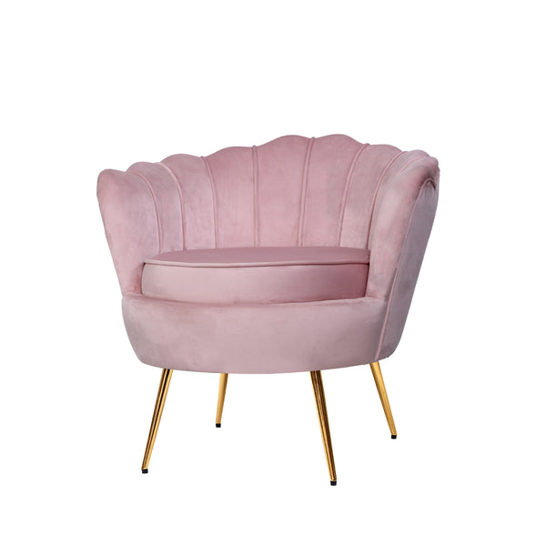 Shell Velvet Lounge Chair - Pink - The Home Accessories Company