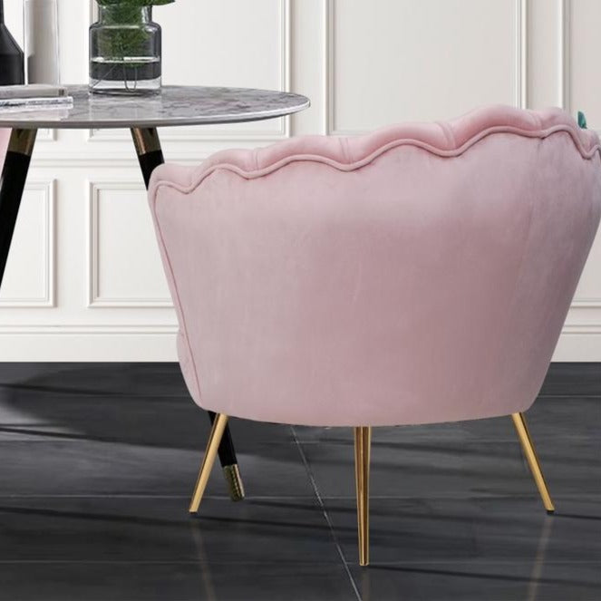 Shell Velvet Lounge Chair - Pink - The Home Accessories Company 3