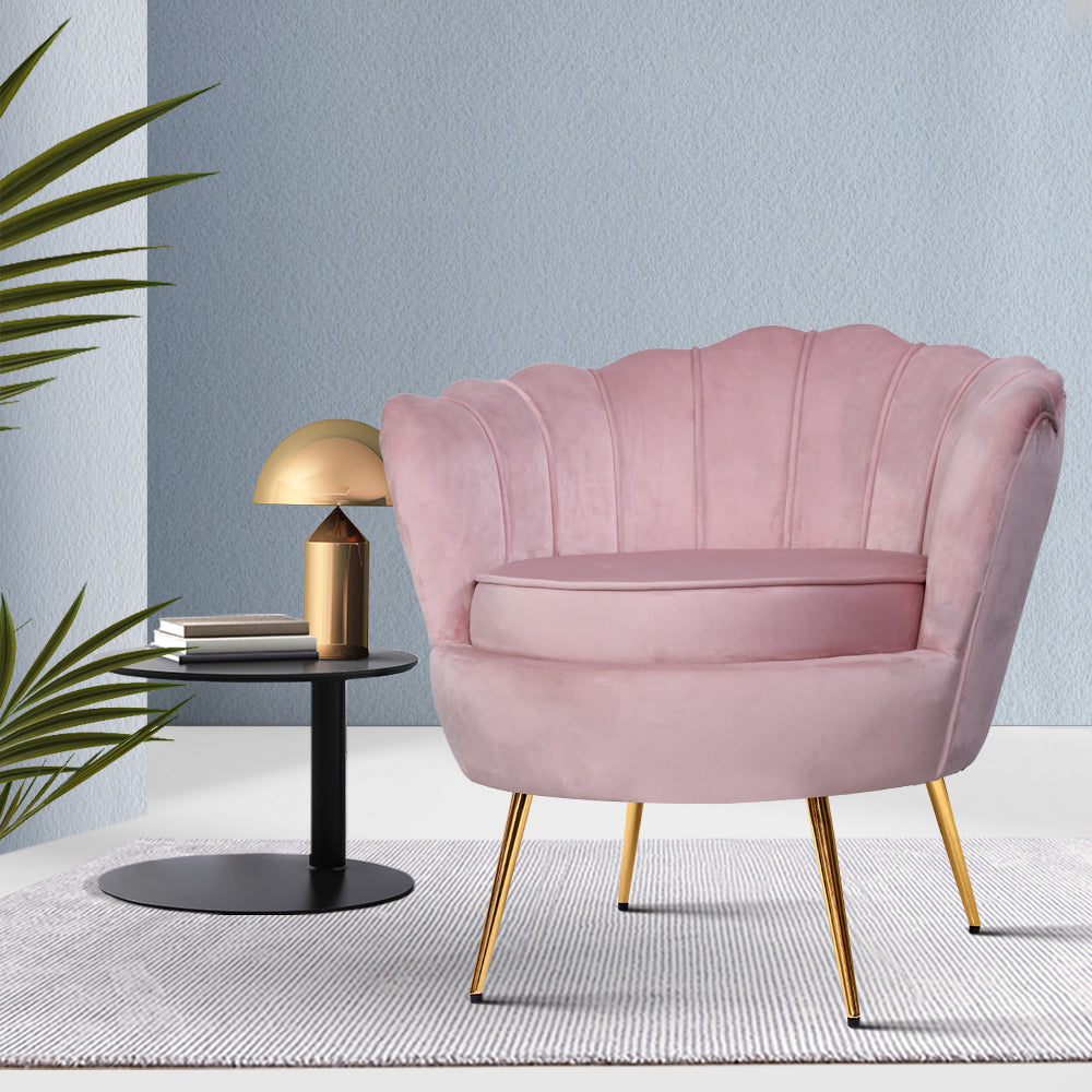 Shell Velvet Lounge Chair - Pink - The Home Accessories Company 4