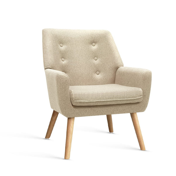 Billie Fabric Lounge Chair - Beige - The Home Accessories Company