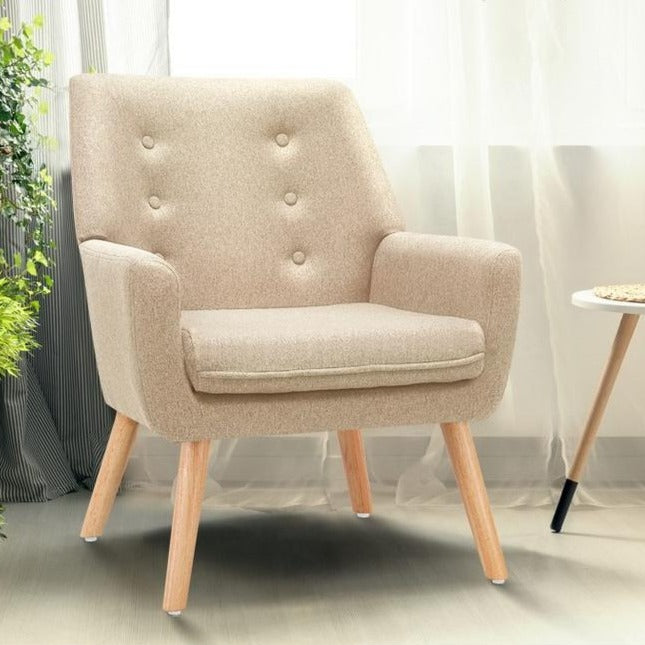 Billie Fabric Lounge Chair - Beige - The Home Accessories Company 2