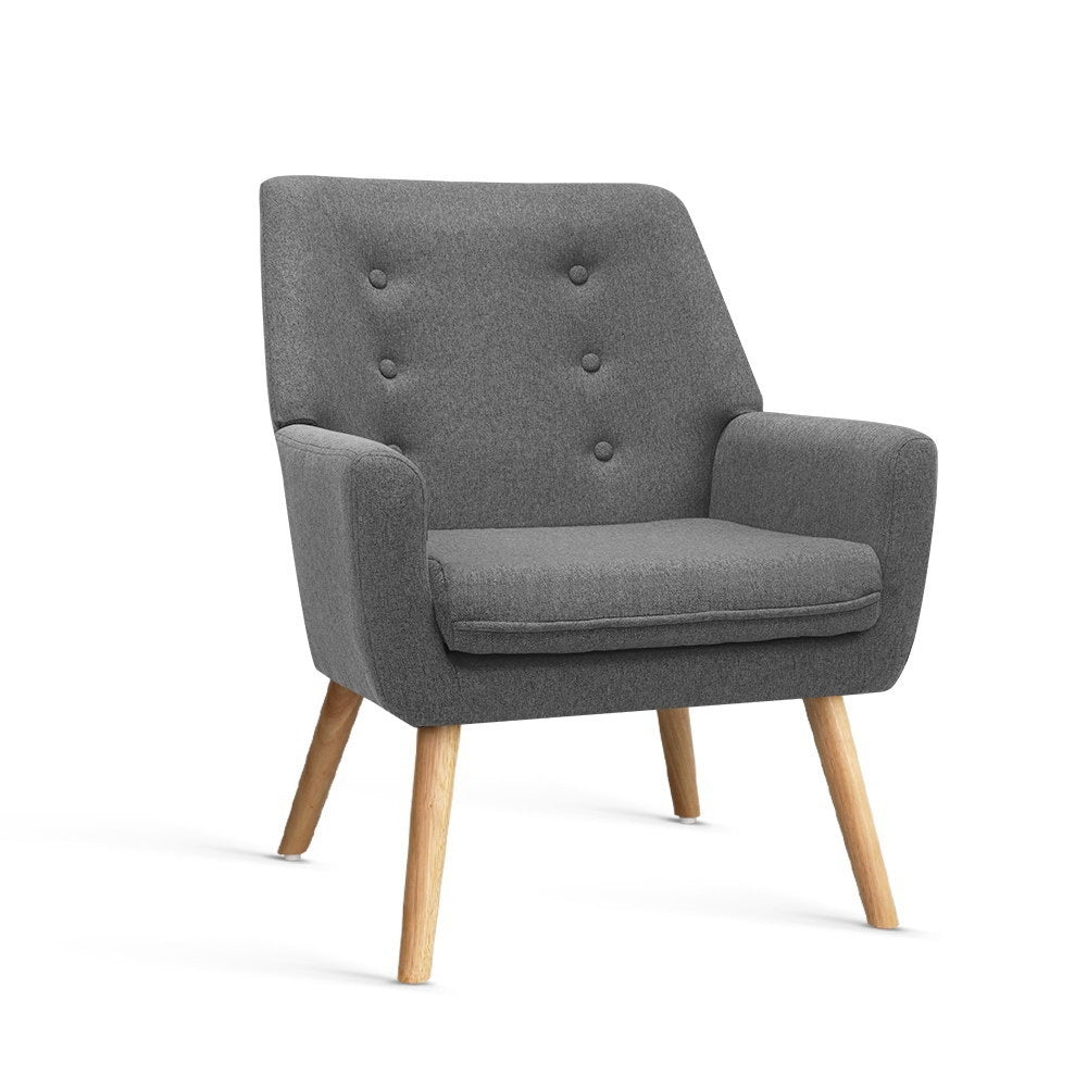 Billie Fabric Lounge Chair - Grey - The Home Accessories Company