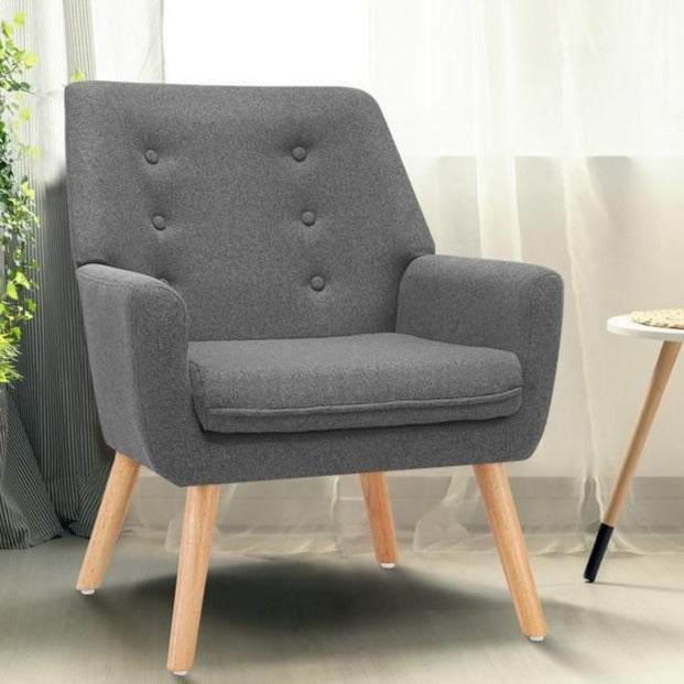 Billie Fabric Lounge Chair - Grey - The Home Accessories Company 1