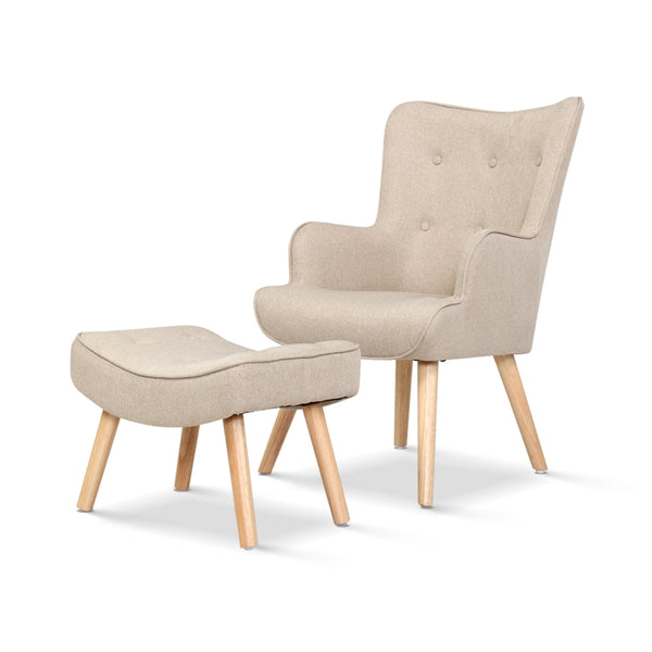 Lansar Lounge Chair and Ottoman - Beige - The Home Accessories Company