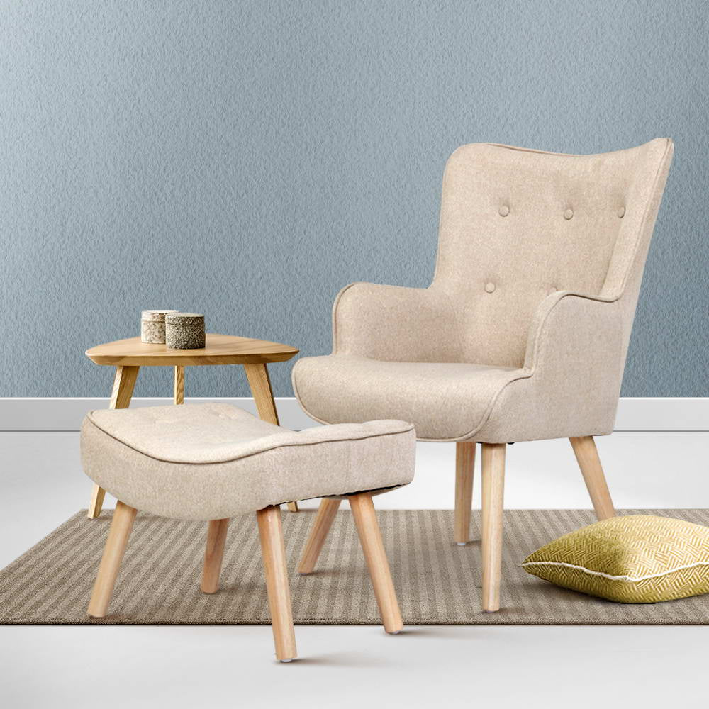 Lansar Lounge Chair and Ottoman - Beige - The Home Accessories Company 2