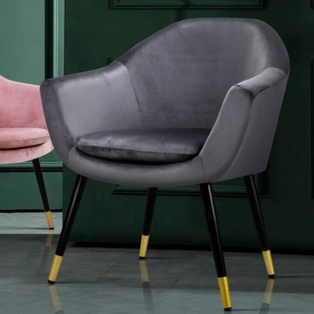 Delilah Velvet Lounge Chair - Grey - The Home Accessories Company 1