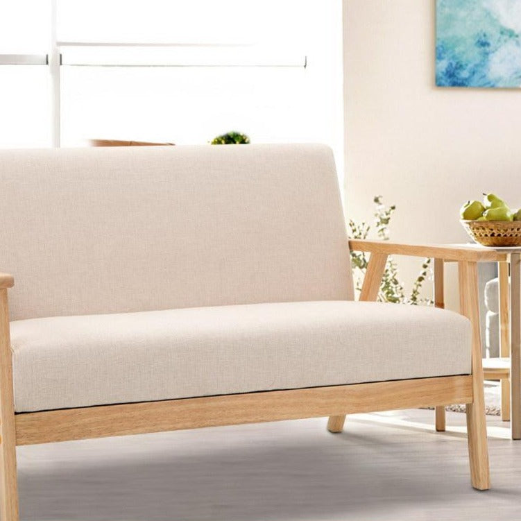 2 Seater Fabric Sofa Chair - Beige - The Home Accessories Company 2