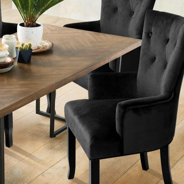 French Provincial Velvet Dining Chair - Black - The Home Accessories Company 2