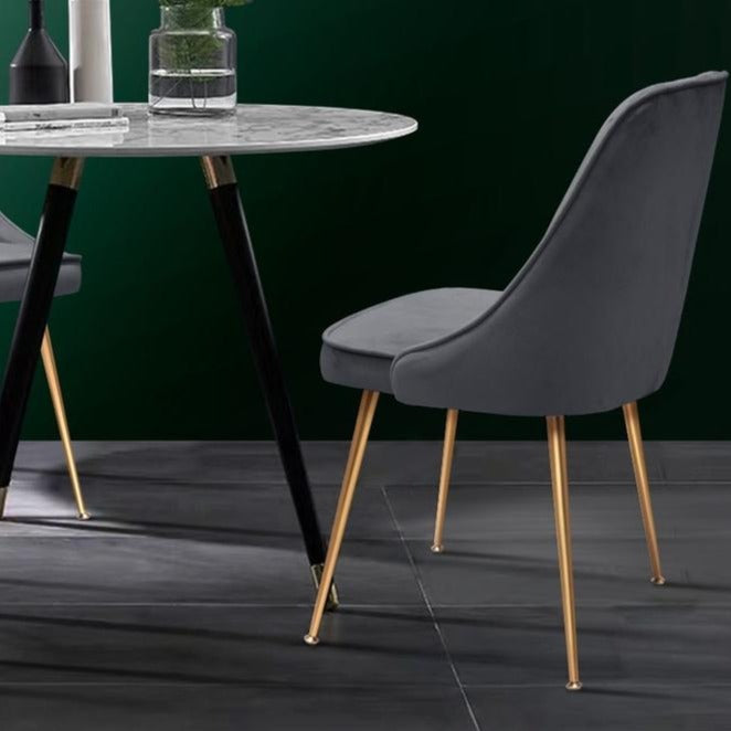 2 x Retro Velvet Dining Chairs - Grey - The Home Accessories Company 2