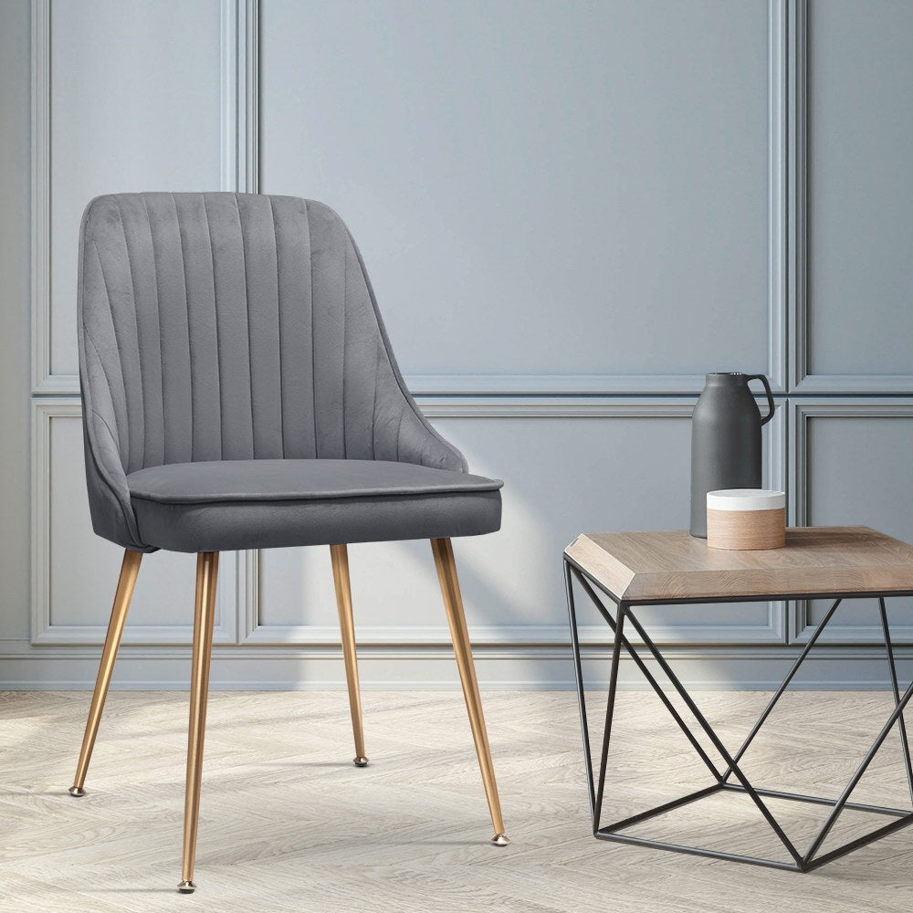 2 x Retro Velvet Dining Chairs - Grey - The Home Accessories Company 3