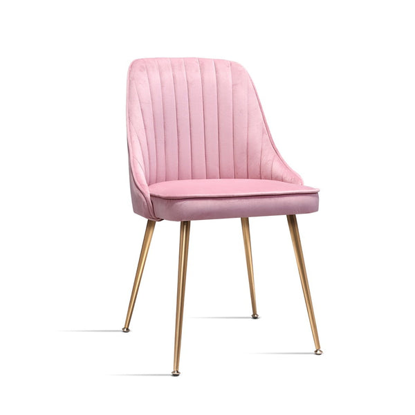 2 x Retro Velvet Dining Chairs - Pink - The Home Accessories Company