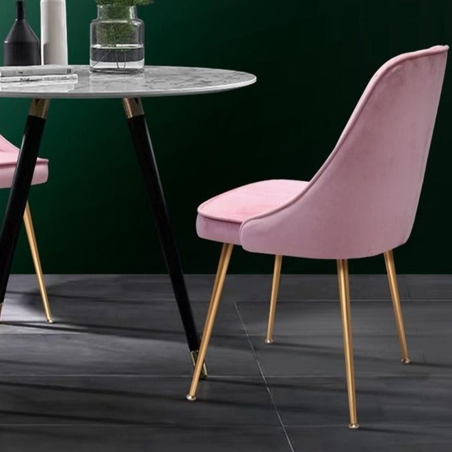 2 x Retro Velvet Dining Chairs - Pink - The Home Accessories Company 2