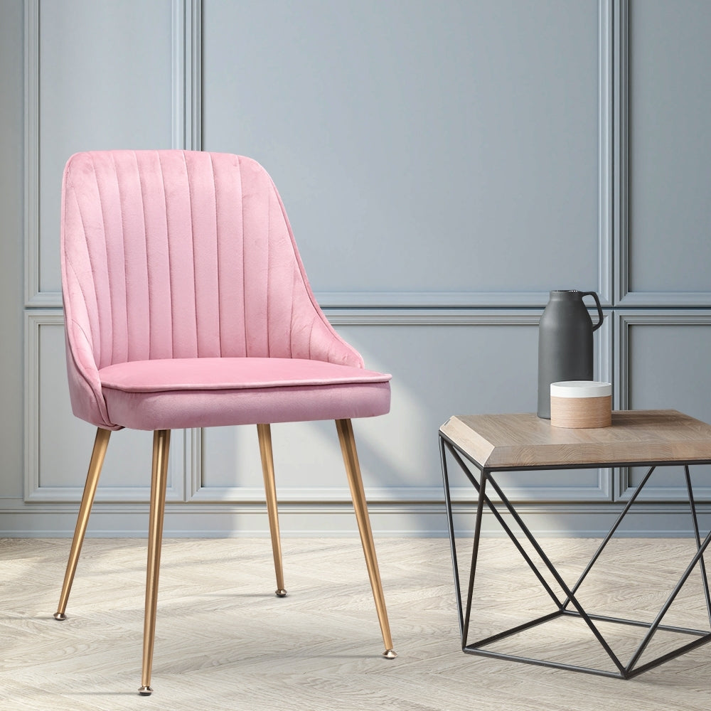 2 x Retro Velvet Dining Chairs - Pink - The Home Accessories Company 3