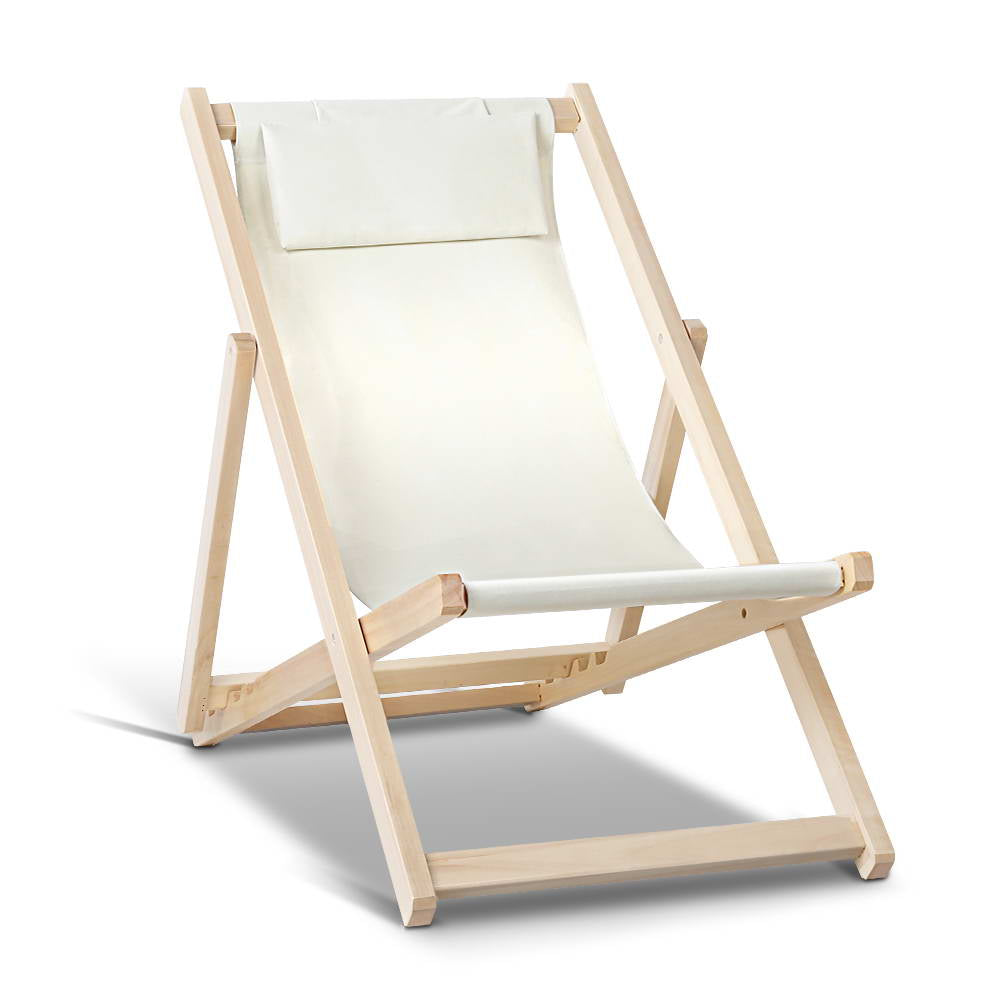 Foldable Beach Deck Chair - Sand - The Home Accessories Company