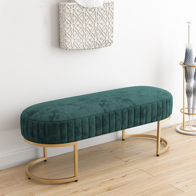 Green Velvet Ottoman Bench- The Home Accessories Company