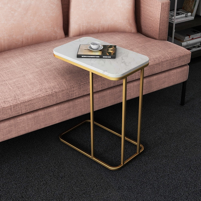 Iron and Marble Effect Side Table- The Home Accessories Company