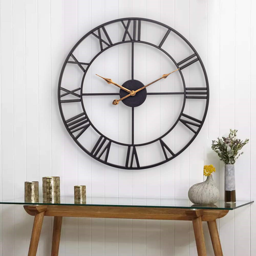 Large Roman Numeral Metal Wall Clock - The Home Accessories Company