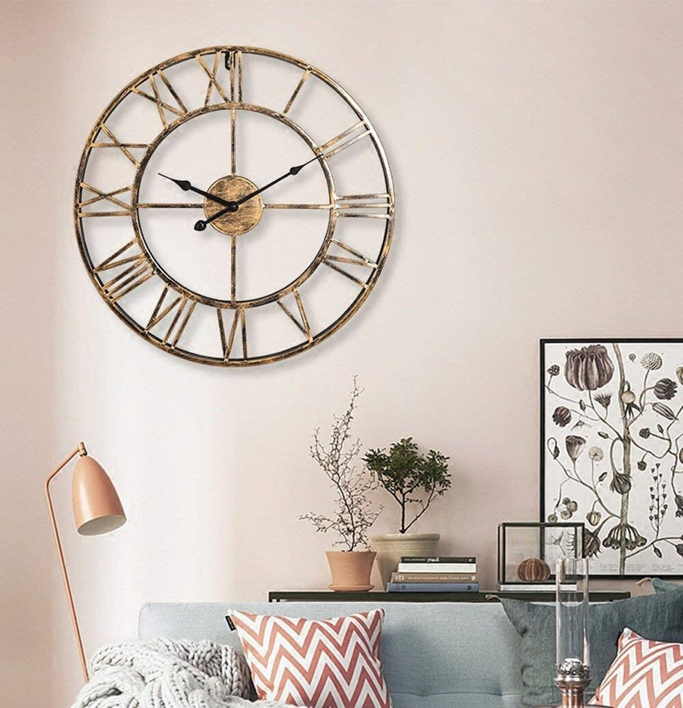 Large Roman Numeral Metal Wall Clock - The Home Accessories Company 3