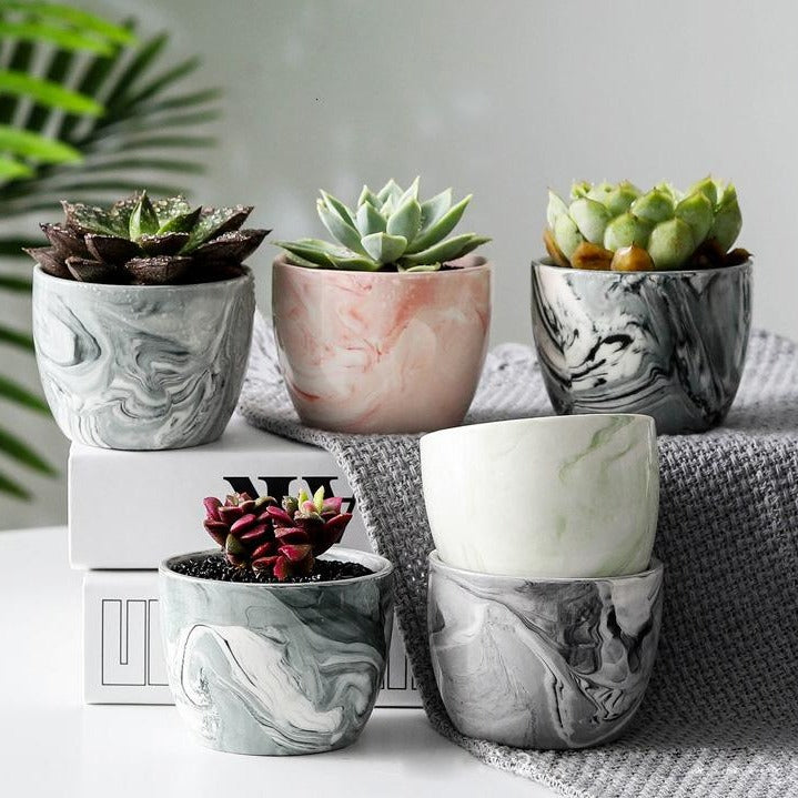 Marble Pattern Ceramic Flower Pot - The Home Accessories Company