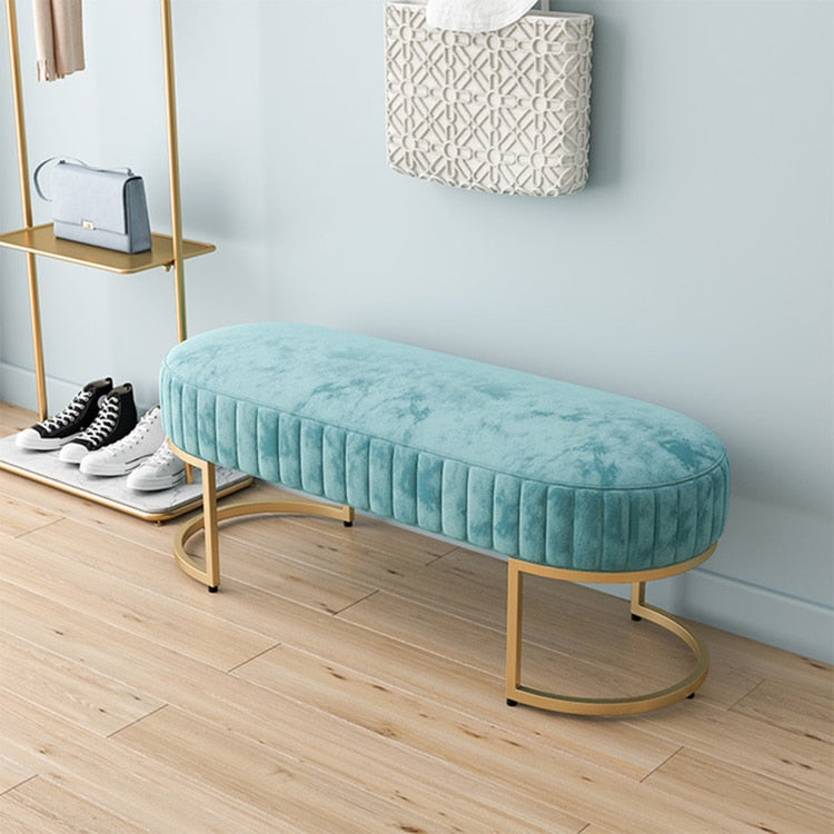 Velvet Ottoman Bench Teale- The Home Accessories Company