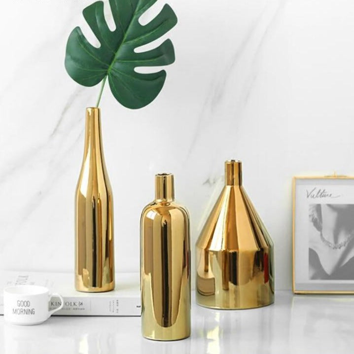 Modern Golden Ceramic Vase- The Home Accessories Company