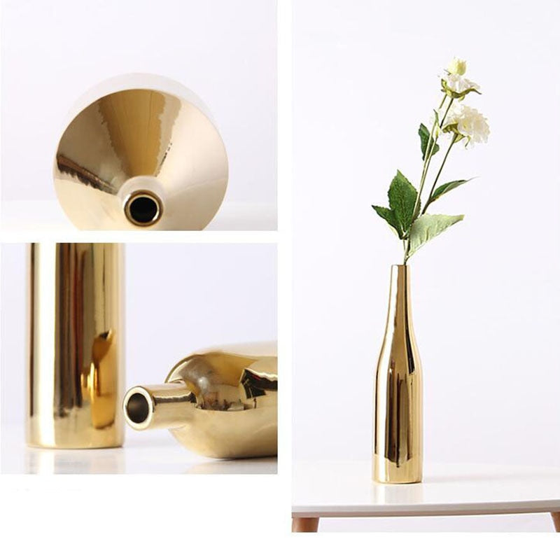 Modern Golden Ceramic Vase- The Home Accessories Company 3