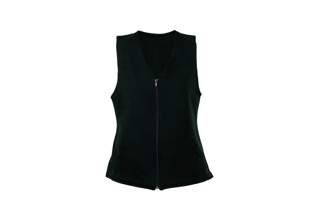 Front view of black vest with zipper
