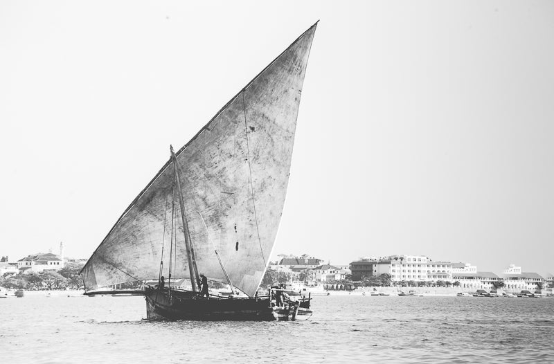Zanzibar artwork for wall decor South Africa. Dhows in Black and white. Delivery worldwide