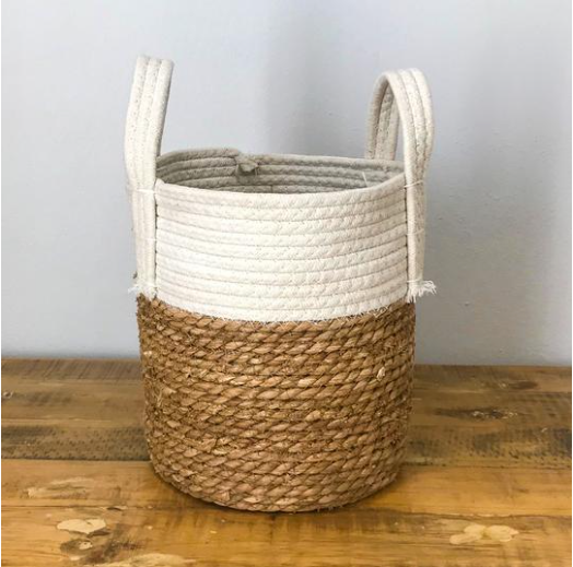 White two-tone Basket with cotton handles