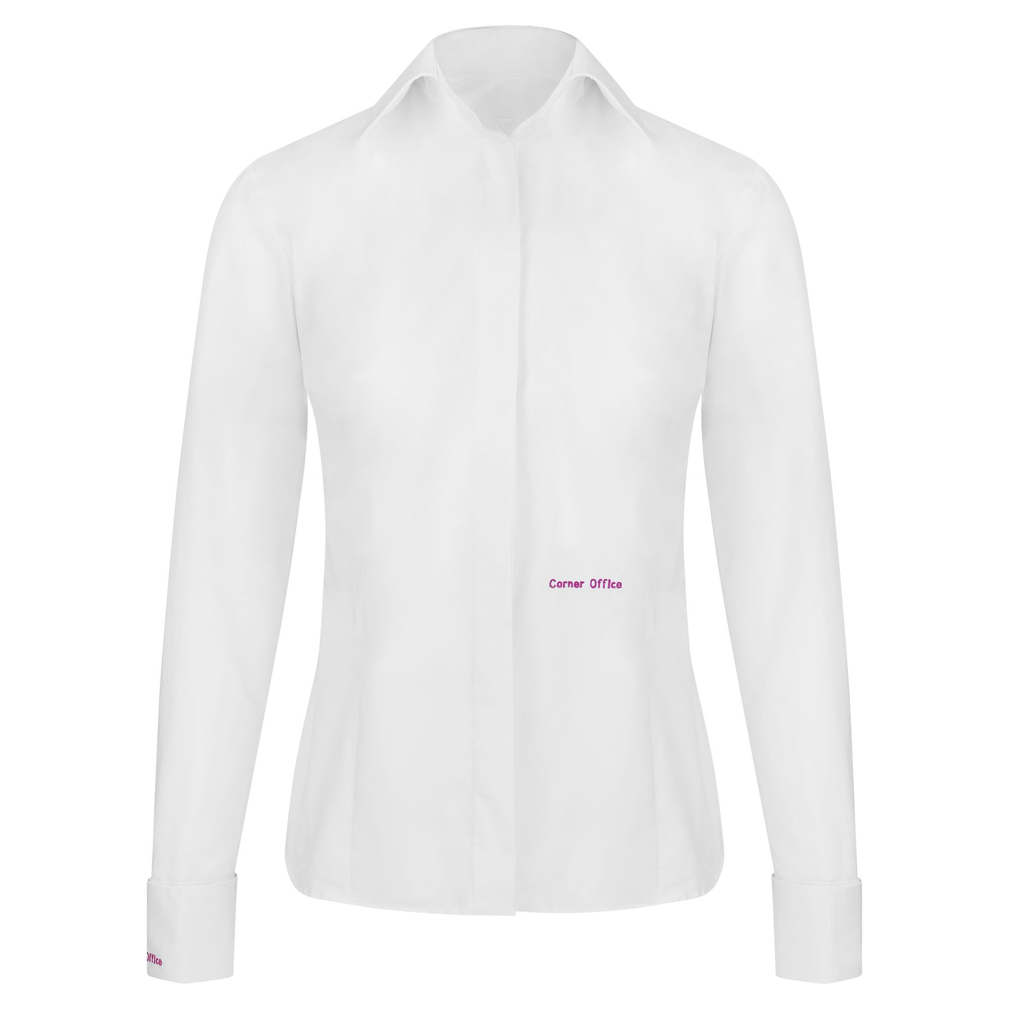 Corner Office Branded Twill Non-Iron White Blouse