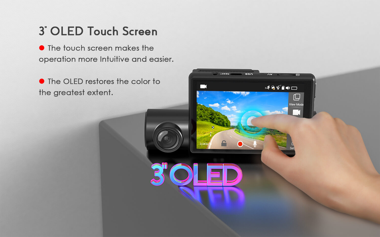 3 inches OLED touch screen - COOAU Dash camera D68