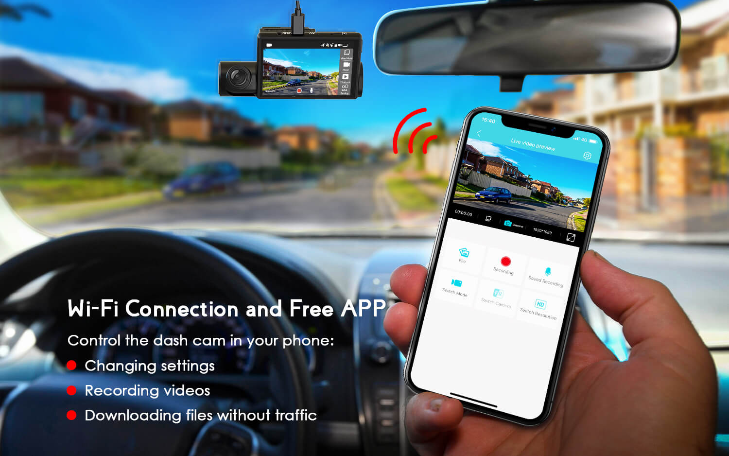 COOAU D68 Dual Dash Camera with Built in WIFI