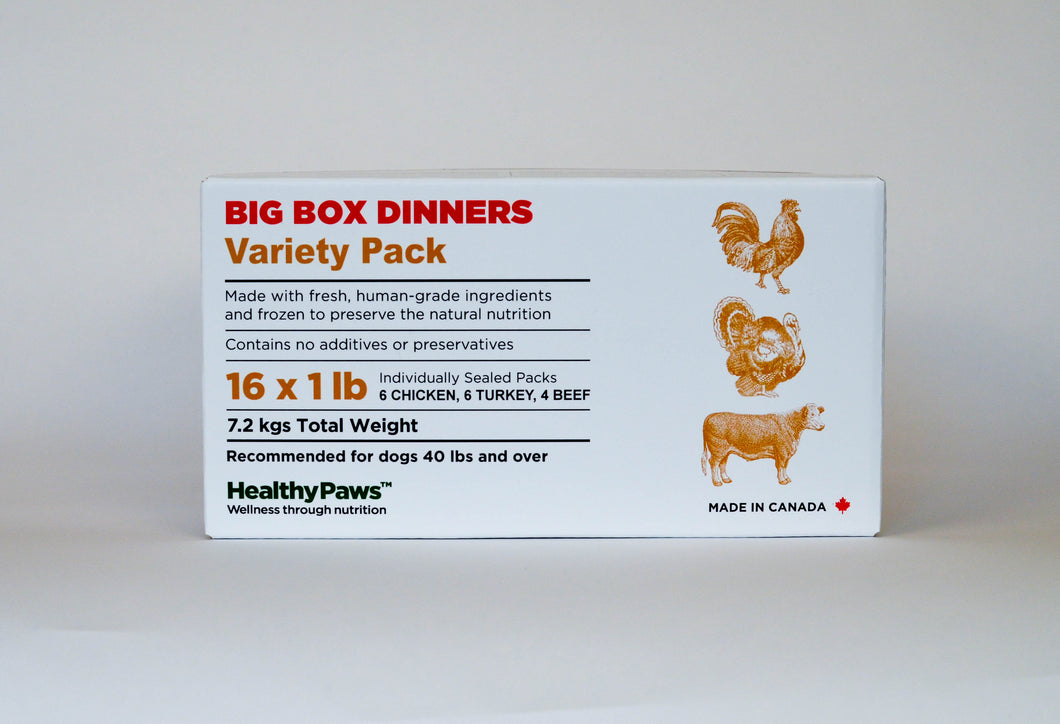 Big Box Dinners - 16x1lb - Variety (6 Chicken, 6 Trukey, 4 Beef)