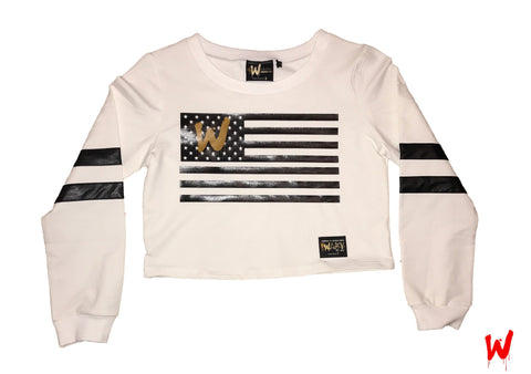 "(Womens) Wavy Boy ""Wavy Flag"" cropped crew - Wavy Boy Clothing  - 1"