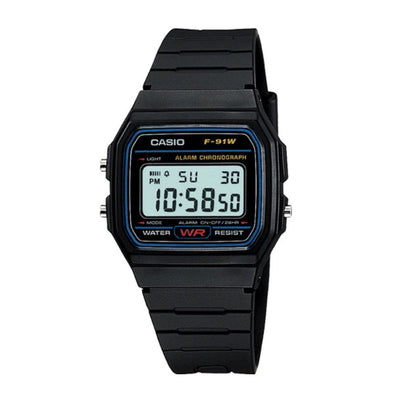 Casio Watch Digital Black Basic F91W-1 Urban Attitude