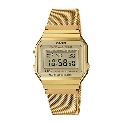 Casio Watch Digital Super Slim Gold Mesh A700WMG-9A Urban Attitude