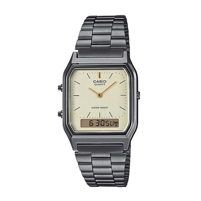Casio Watch Duo Time Gunmetal Grey And Beige AQ230GG-9A Urban Attitude