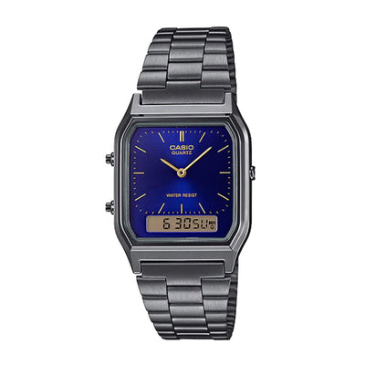 Casio Watch Duo Time Gunmetal Grey And Purple AQ230GG-2A Urban Attitude